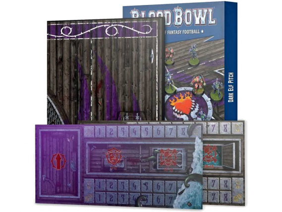 Blood Bowl: Dark Elf Team Double-sided Pitch and Dugouts Set (EN)